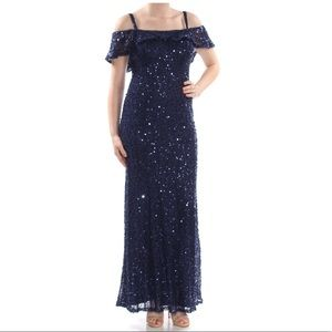 Formal Dress Size 12 Navy Sequined Nightway Gown